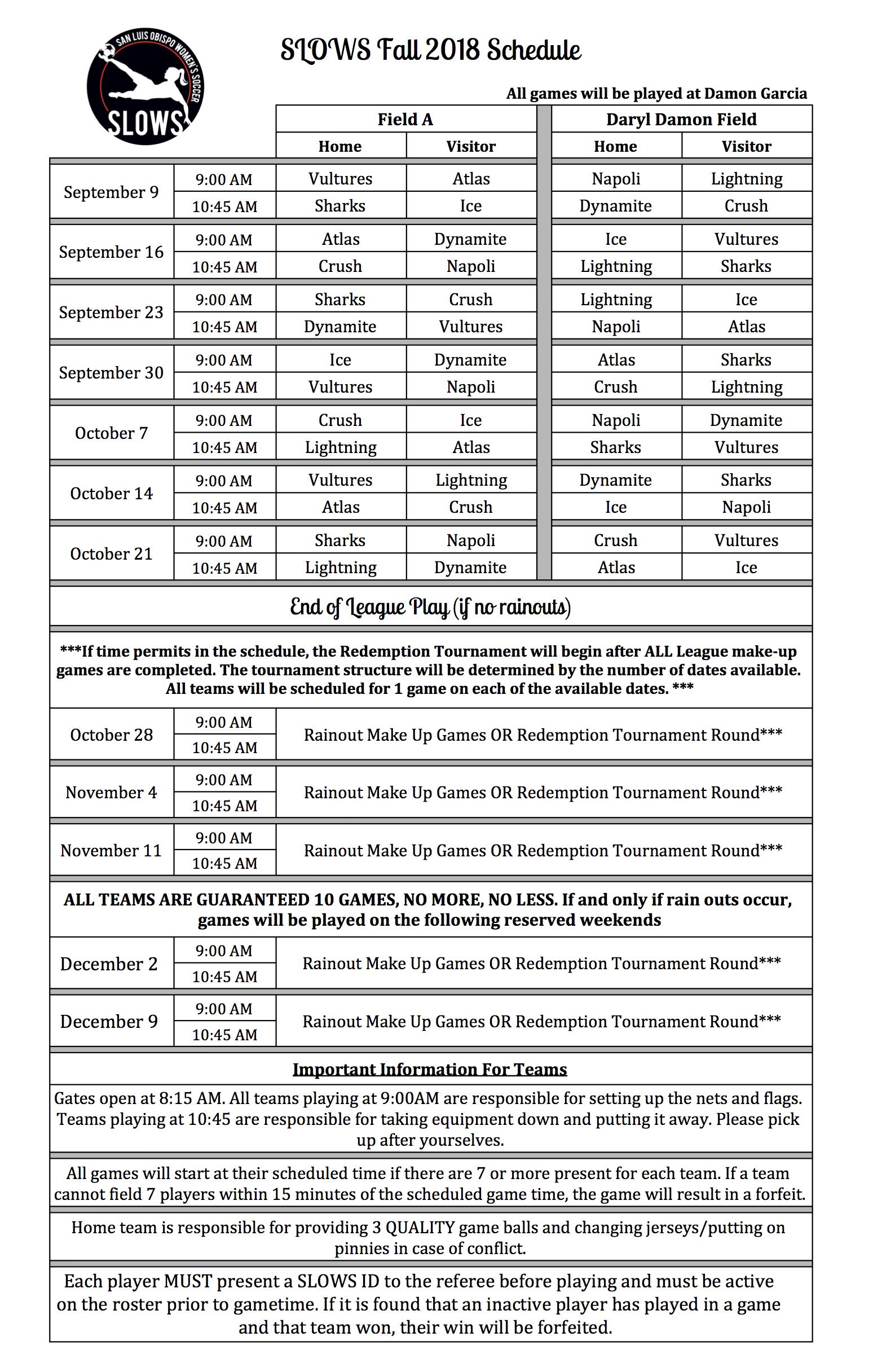 fall season 2018 schedule is up san luis obispo women s soccer